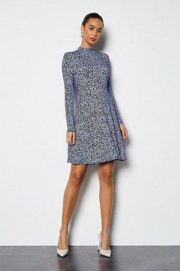 Blue Leopard Print Jersey Flared Dress