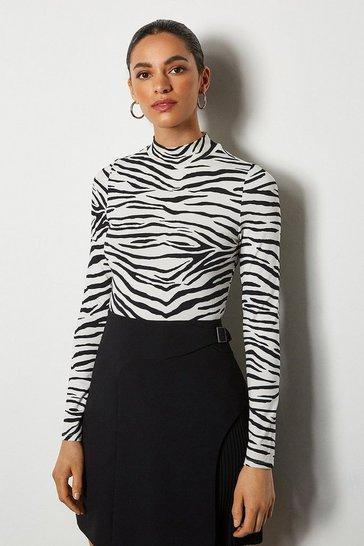 Blackwhite Zebra Print Jersey Funnel Neck Top