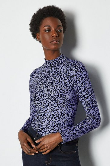 Blue Leopard Print Jersey Funnel Neck Top