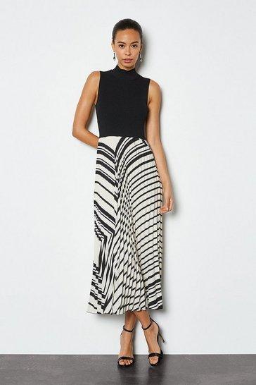 Black Knit Mix Scarf Print Pleated Skirt Dress