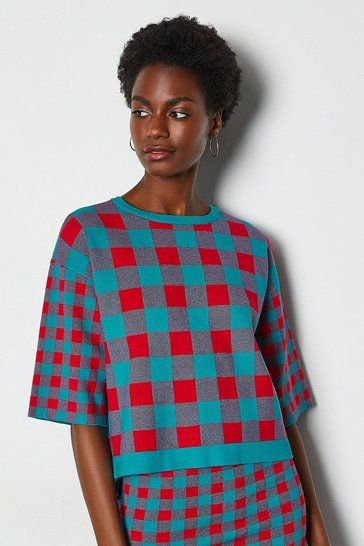 Red Colour Pop Check Knit Jumper