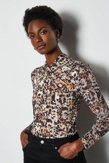 Smudge Animal Twist Neck Mix Fabric Jersey Top