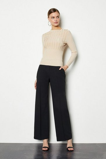 Black Tailored Track Style Trousers