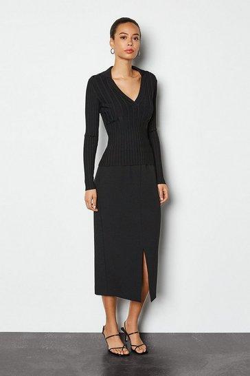 Black Tailored Track Midi Skirt