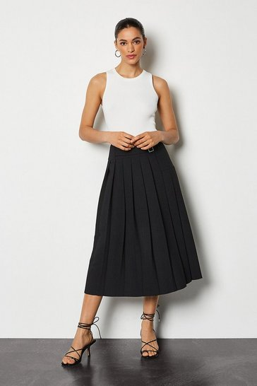 Black Wrap Pleat Skirt