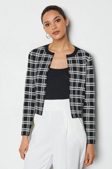 Blackwhite Bold Check Knit Cardigan