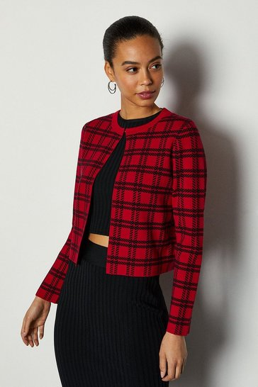 Red Bold Check Knit Cardigan