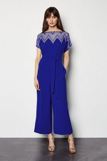 Blue Diamond Lace Jumpsuit