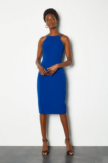 Blue Jewelled Strap Dress