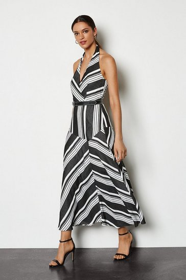 Blackwhite Striped Halter Sundress