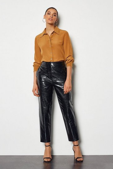Black Croc Effect Faux Leather Cigarette Trouser