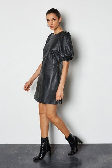Black Leather Puff Sleeve Mini Dress