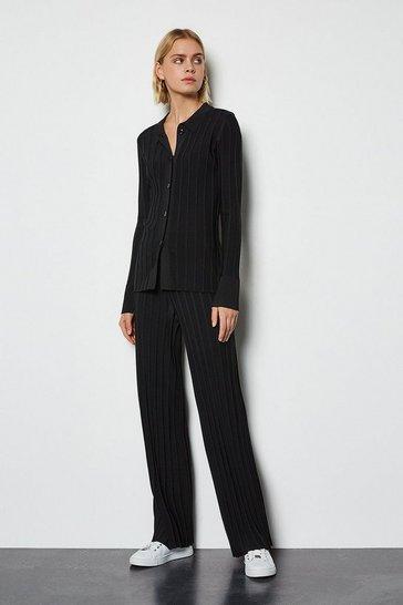 Black Wide Rib Knit Trousers