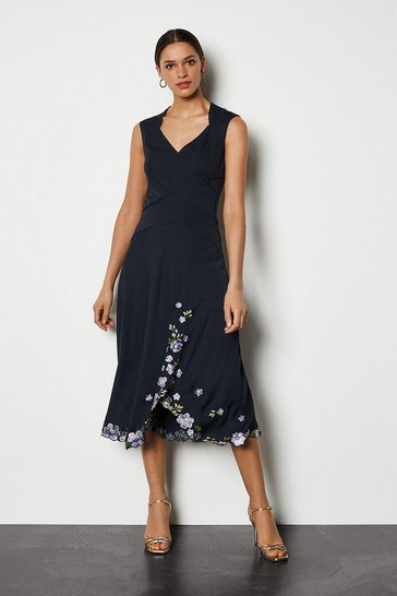 Navy Scattered Floral Embroidered Dress