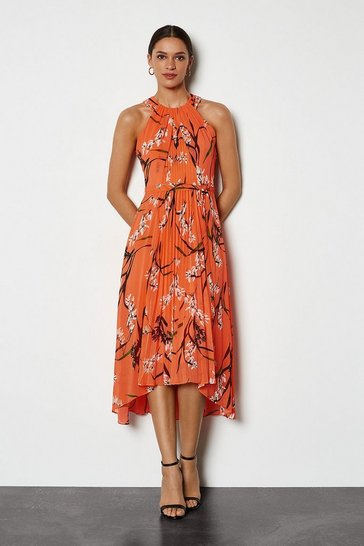 Coral Trailing Oriental Print Dress