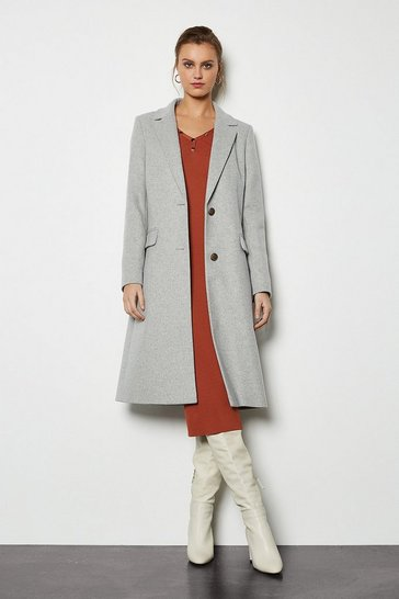 Pale grey Tailored Wool Blend Coat