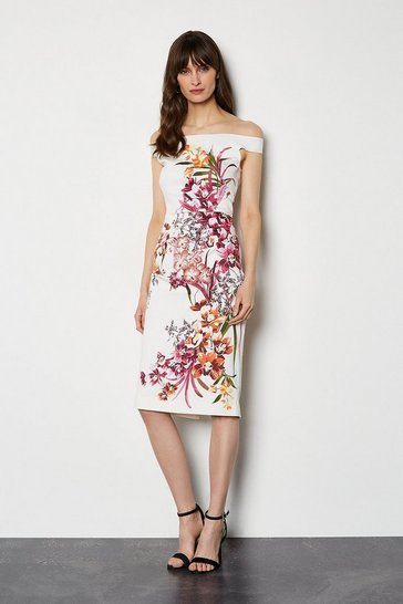 White Placed Orchid On Signature Stretch Dress