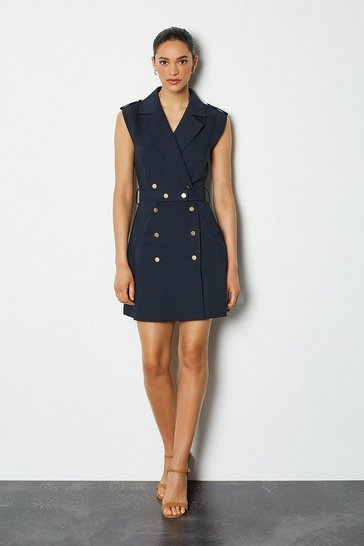 Navy Safari Cotton Sateen Dress
