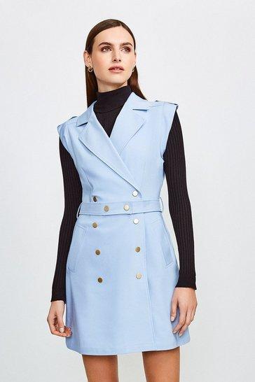 Pale blue Safari Cotton Sateen Dress
