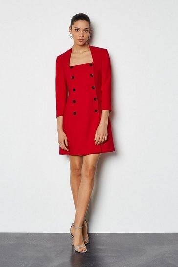 Red Military Square Neck Dress
