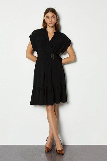 Black Military Soft Wrap Dress
