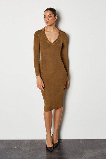 Rust Plain Knitted Polo Collar V Neck Dress