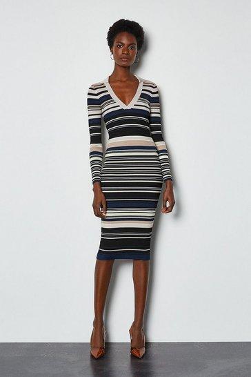 Black Stripe Knitted Polo Collar V Neck Dress