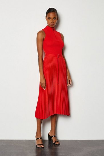 Red Zip Turtle Neck Pleated Skirt Dress