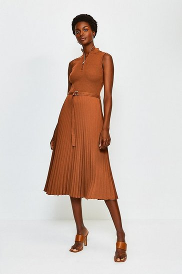 Rust Zip Turtle Neck Pleated Skirt Dress