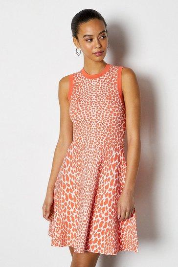 Coral Sleeveless Leopard Flippy Knit Dress