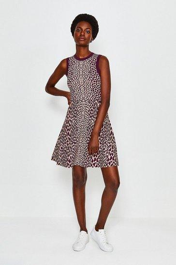 Pink Sleeveless Leopard Flippy Knit Dress