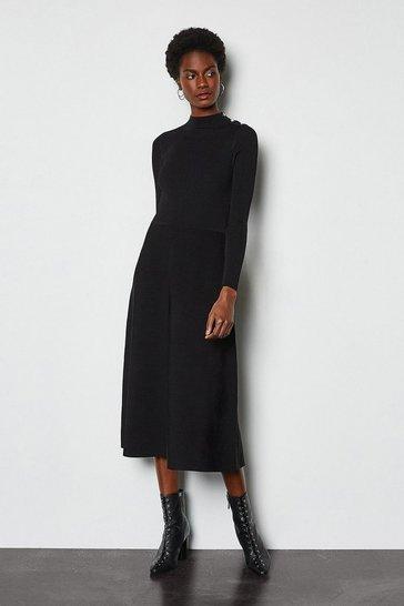 Black Midi Essential Rib Knit Dress