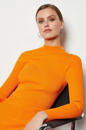 Orange Midi Essential Rib Knit Dress