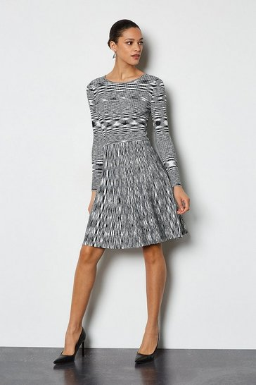 Blackwhite Space Dye Knit Fit and Flare Dress