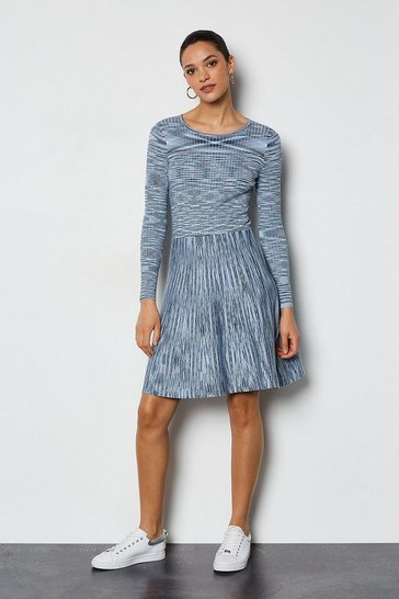 Blue Space Dye Knit Fit and Flare Dress