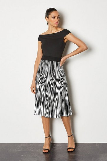 Blackwhite Zebra Jacquard Pleat Knit Skirt