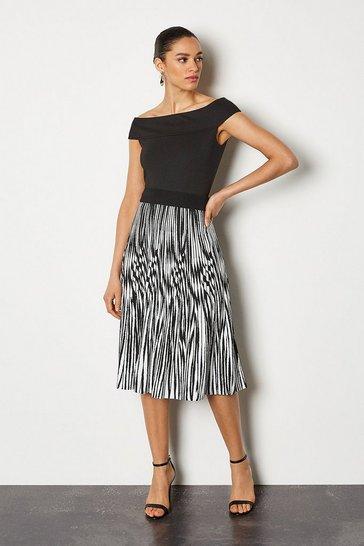 Blackwhite Zebra Jacquard Pleat Knit Skirt