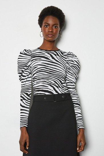 Blackwhite Zebra Jacquard Puff Sleeve Jumper
