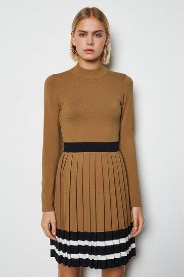Camel Sporty Stripe Pleat Knit Dress