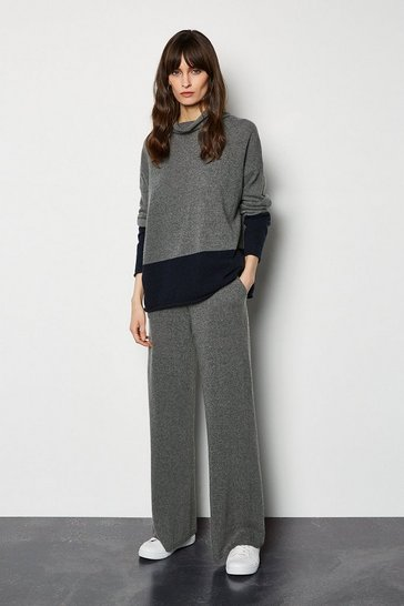 Mid grey Cashmere Wide Leg Knitted Joggers