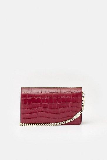 Berry Metal Bar Shoulder Bag