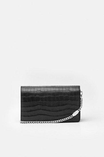 Black Metal Bar Shoulder Bag