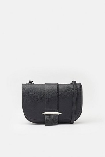 Black Metal Bar Detail Crossbody Bag