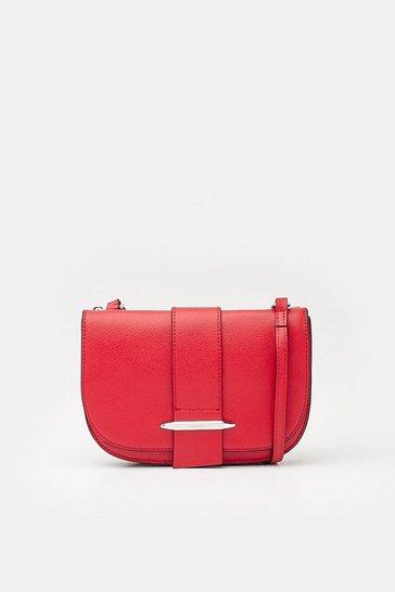 Red Metal Bar Detail Crossbody Bag