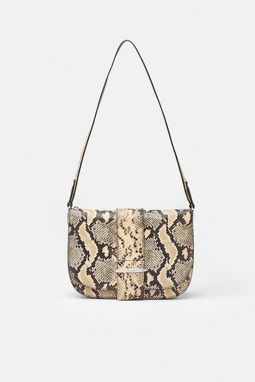 Animal Metal Bar Detail Shoulder Bag