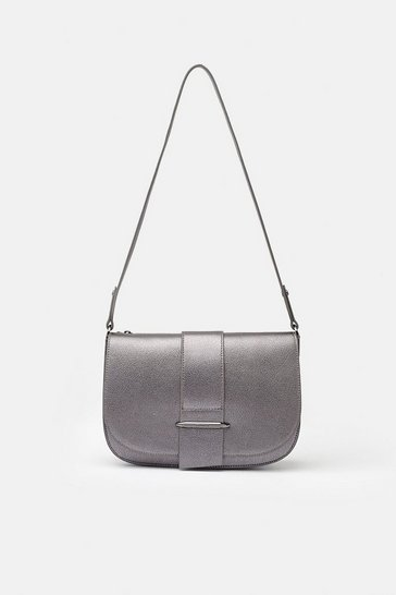 Pewter Metal Bar Detail Shoulder Bag