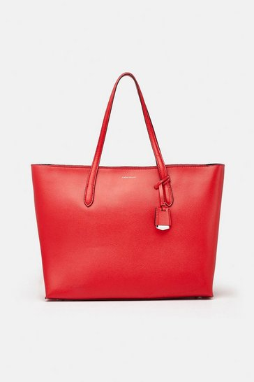 Red Textured Tote Bag