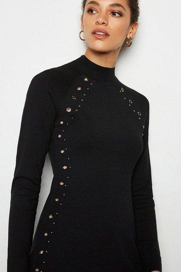 Black Hardware Embellished Knit Dress