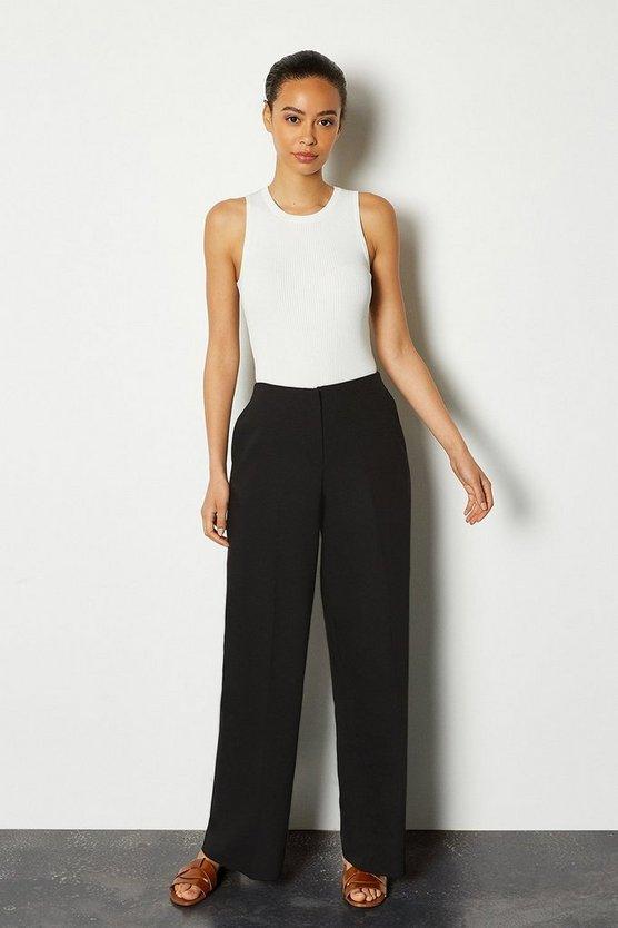 Black Essential Cotton Sateen Wide Leg Trousers