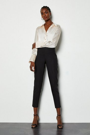 Black Essential Cotton Sateen Capri Trousers